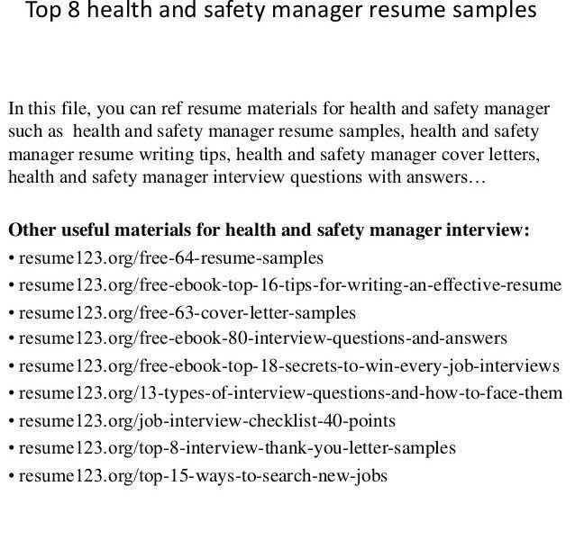 safety manager resume