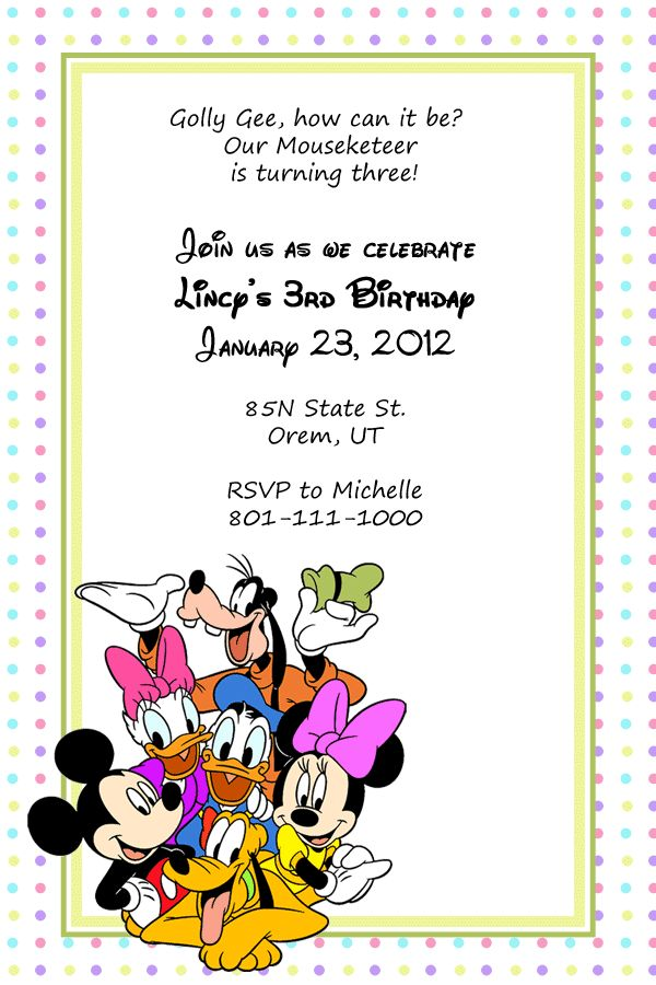 Birthday Invitation Template for Mickey Mouse and Friends Fans ...