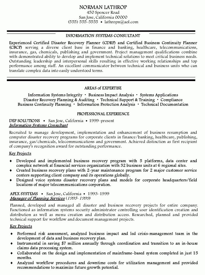 Information Systems Consultant Resume - Information Systems ...