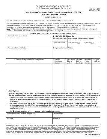 CERTIFICATE OF ORIGIN Canada-Peru Free Trade Agreement ...