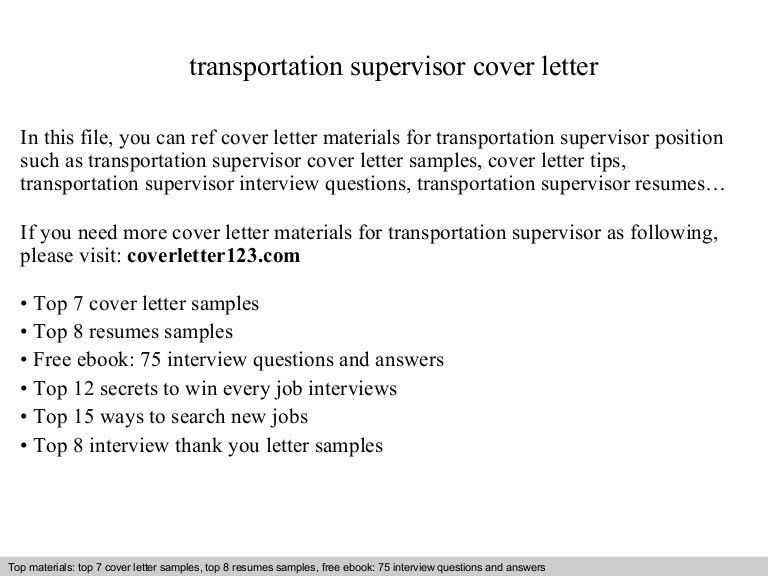 Transportation supervisor cover letter