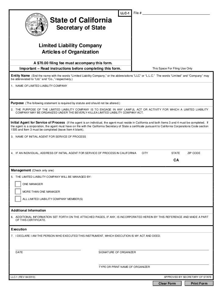 LLc articles of organization | Company Documents