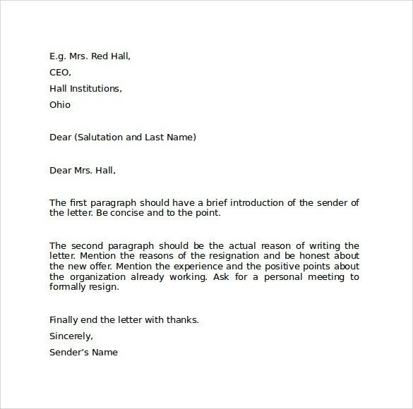 Sample Resignation Letter Format - 9+ Download Free Documents in ...