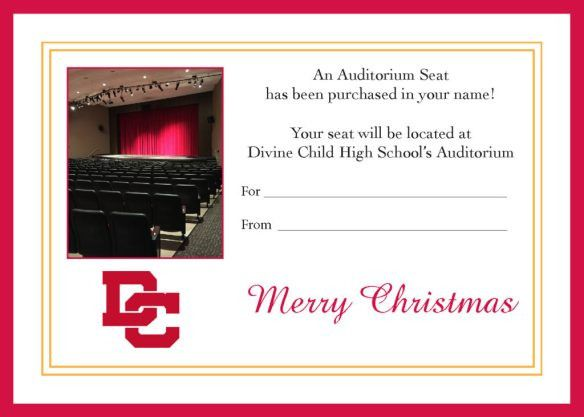 Certificates for Auditorium Seats | Church of the Divine Child