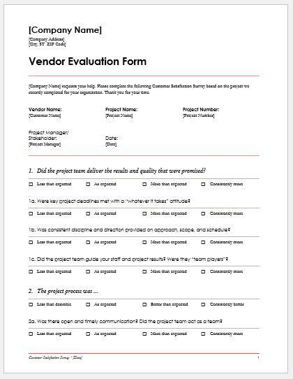 Vendor Evaluation Forms & Templates for MS Word | Word & Excel ...
