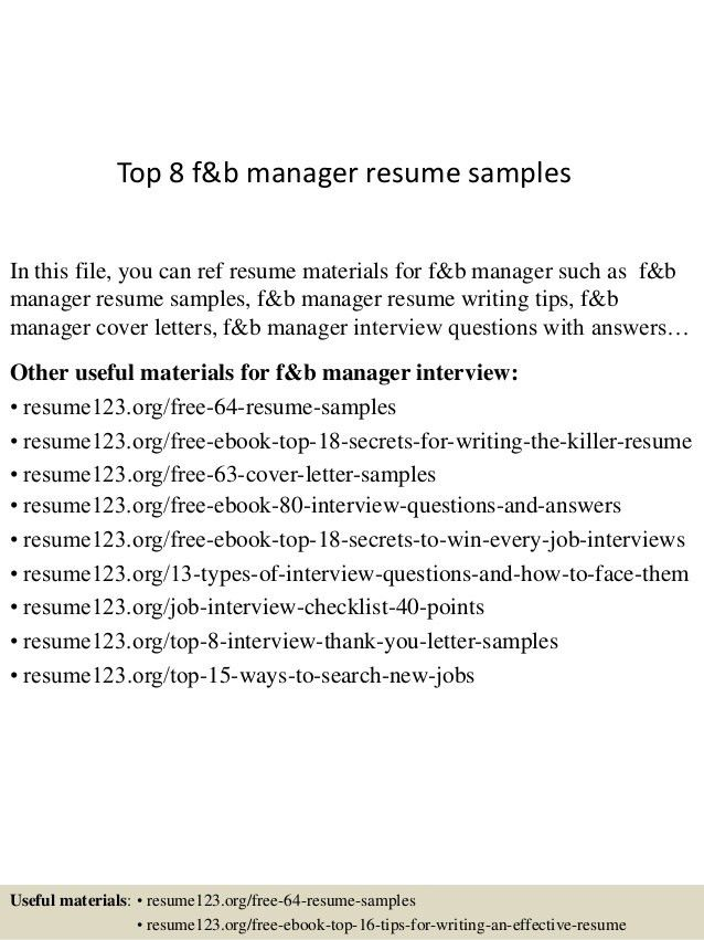 Top 8 f&b manager resume samples