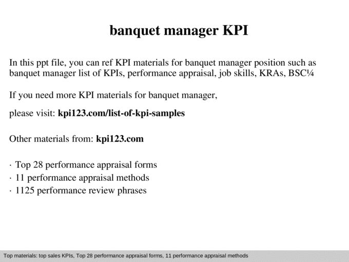 Banquet manager kpi - Documents