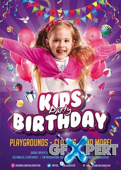 Free Kids Birthday Party Invitation Premium Flyer Template + ...