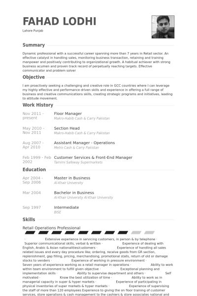 Floor Manager Resume samples - VisualCV resume samples database