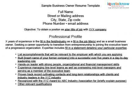 Wonderful Ideas Small Business Owner Resume 6 Template Examples ...