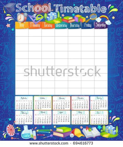 Template School Timetable Students Pupils Days Stock Vector ...