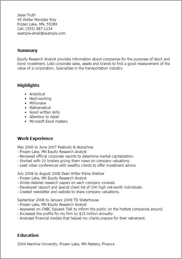 equity research analyst resume sample sample resume quantitative