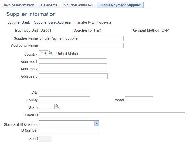 Entering Single Payment Vouchers