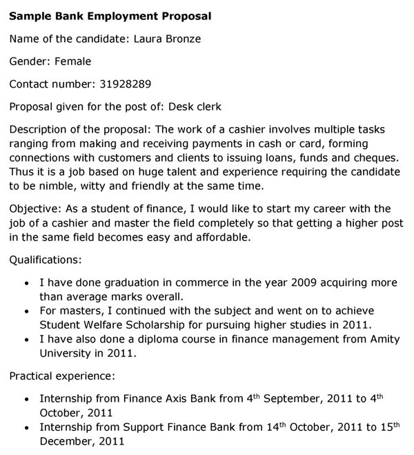 Bank Employment Proposal Template