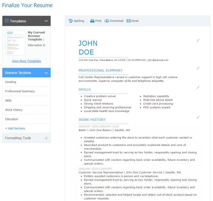 Free Resume Builder And Downloader | Samples Of Resumes