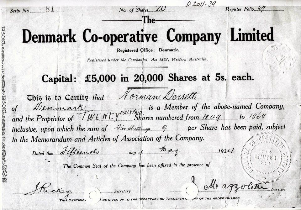 Denmark Co-operative Company Ltd share certificate 15 May 1924 ...
