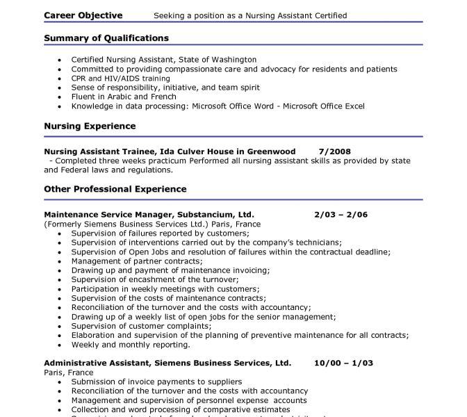 Cna Resume Career Objective - Ecordura.com