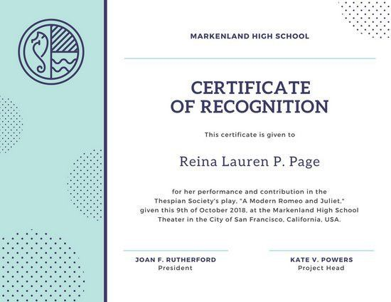 Recognition Certificate Templates - Canva