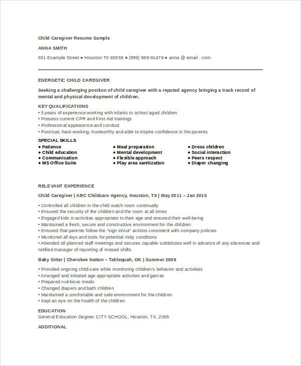 Caregiver Resume Example - 7+ Free Word, PDF Documents Download ...