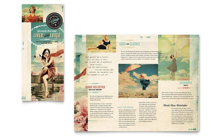 Vintage Clothing Tri Fold Brochure Template - Word & Publisher