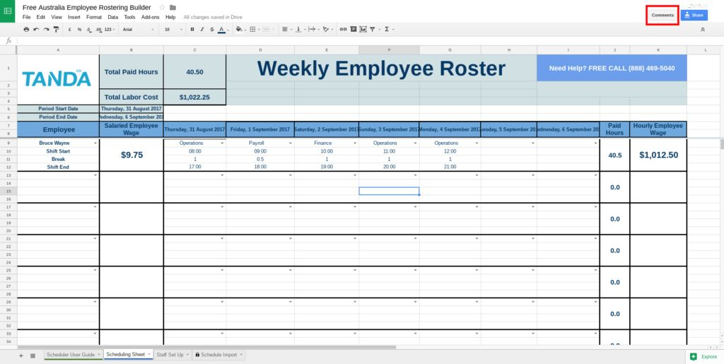 Free Roster Template for Excel | Tanda