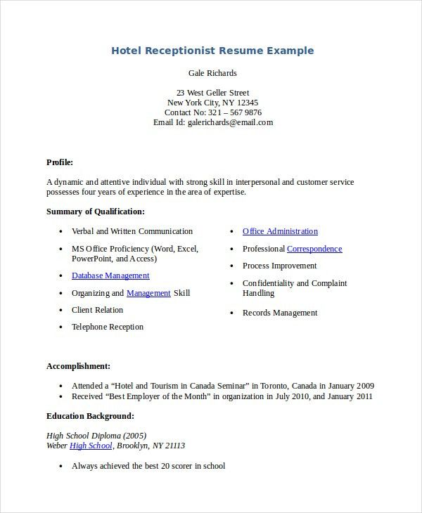 Receptionist Resume Template - 7+ Free Word, PDF Document Download ...