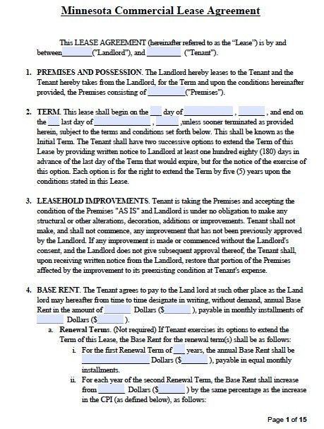 Free Minnesota Commercial Lease Agreement Template – PDF – Word – RTF