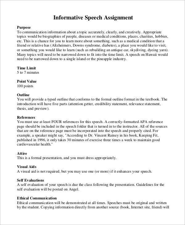 Informative Speech Example - 8+ Samples in Word, PDF