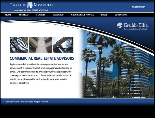 Orange County Commercial Real Estate Web Design for Taylor McArdell