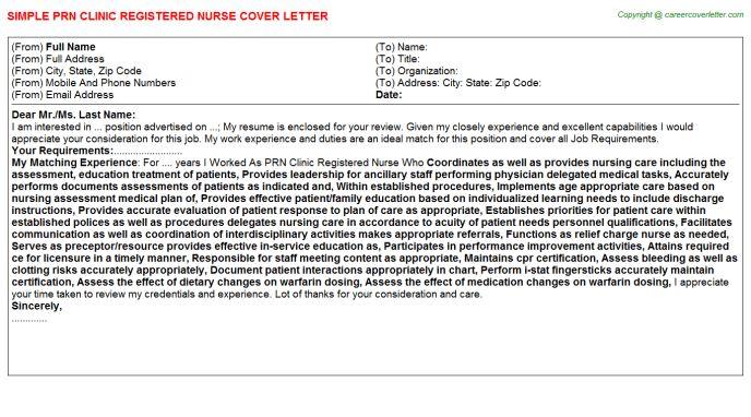 Prn Clinic Registered Nurse Cover Letter