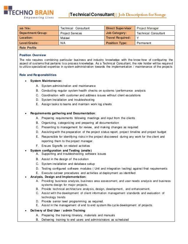 Job Description - Project Services - Technical Consultant -Songelwayo…