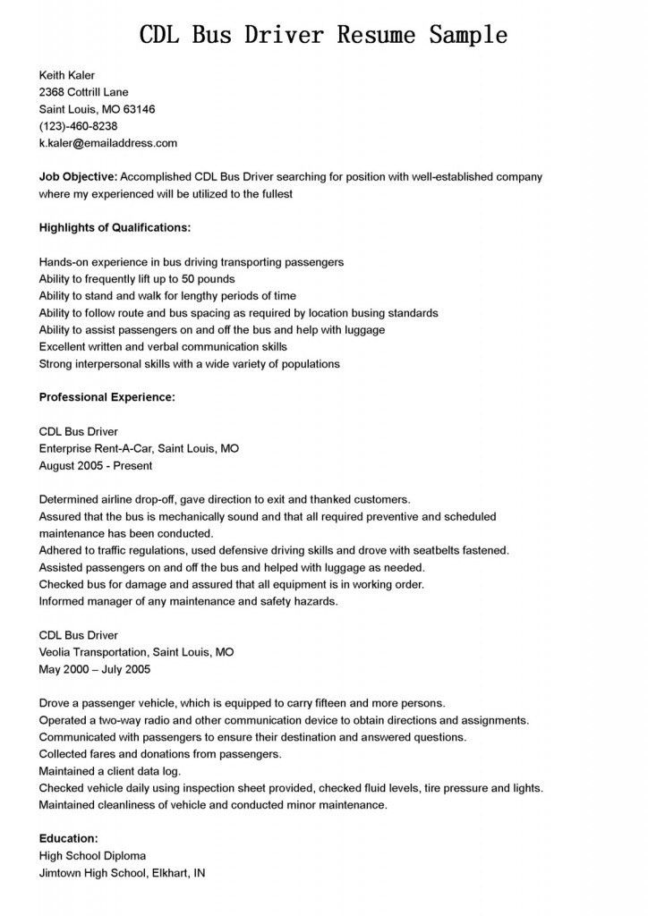 sample bus driver resume professional bus driver templates to