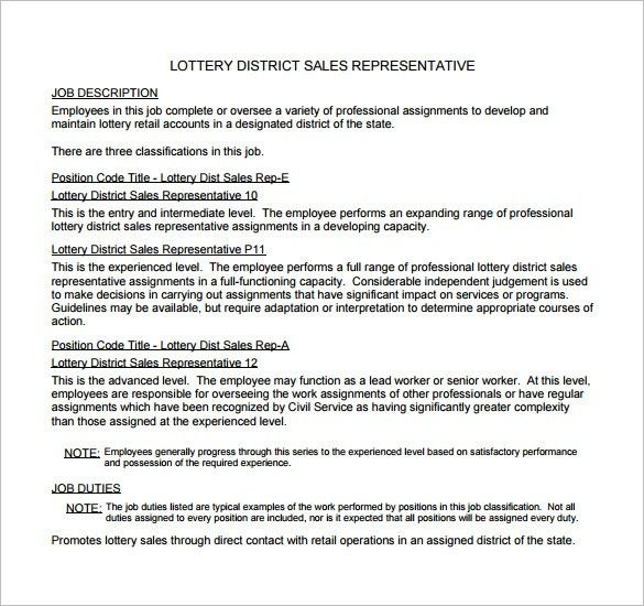 duties sales representative