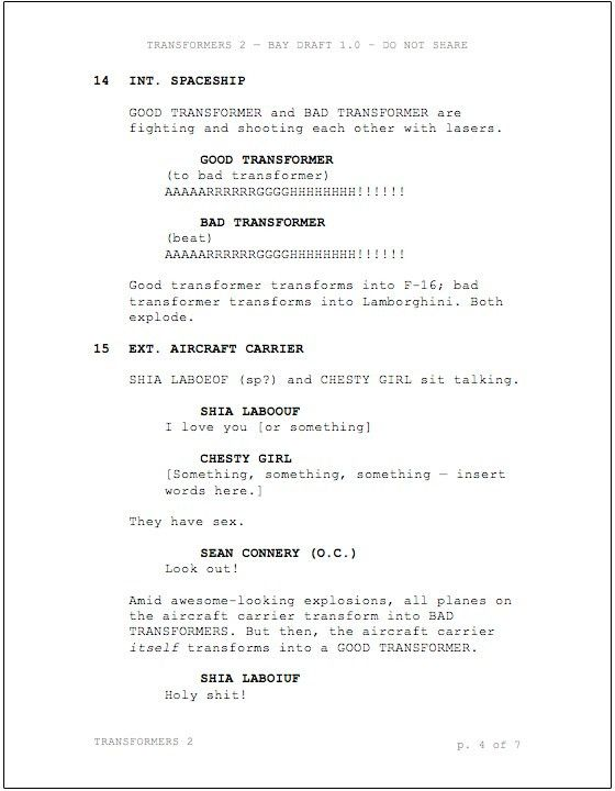 First Look: Michael Bay's Script for 'Transformers 2' -- Vulture