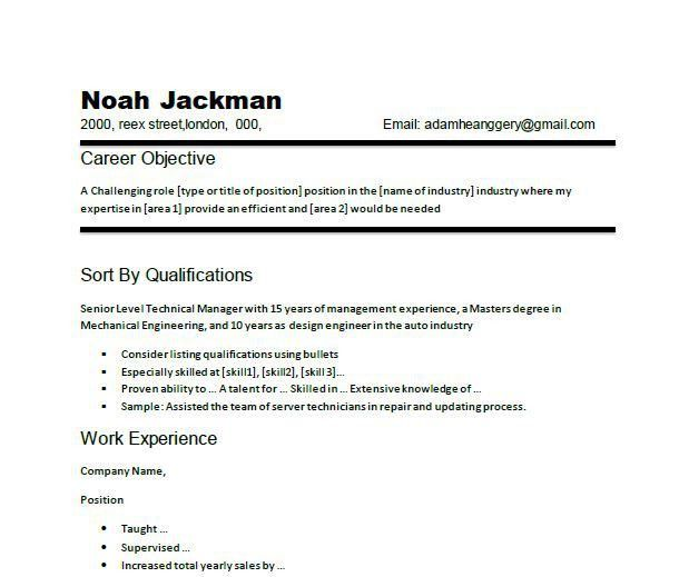 Basic Resume Objective - CV Resume Ideas