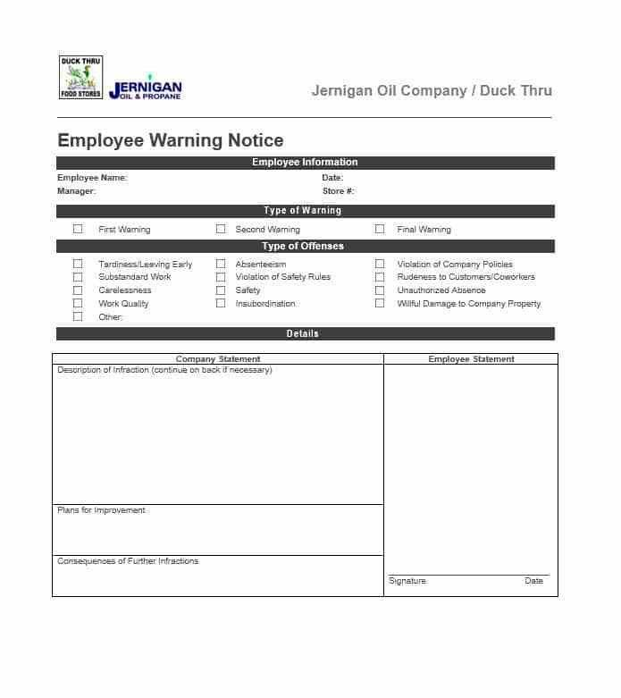 Employee Warning Notice - Download 56 Free Templates & Forms