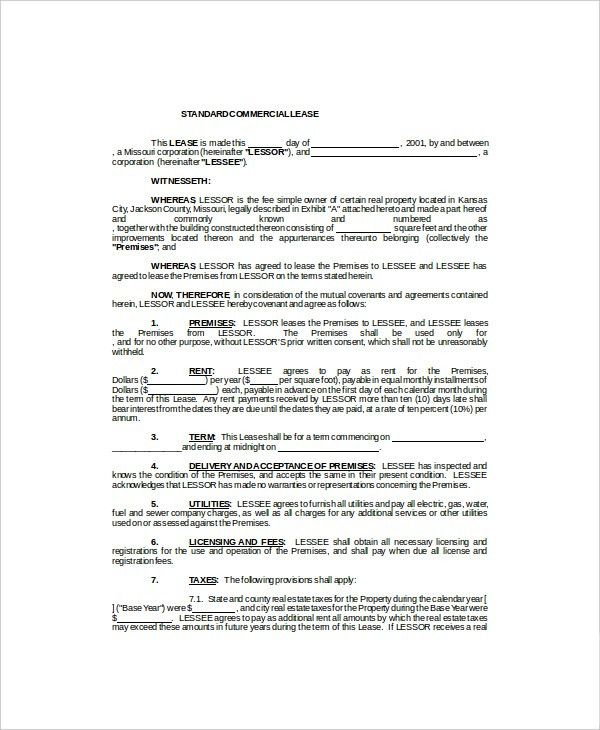 Commercial Lease Template - 7+ Free Word, PDF Documents Download ...