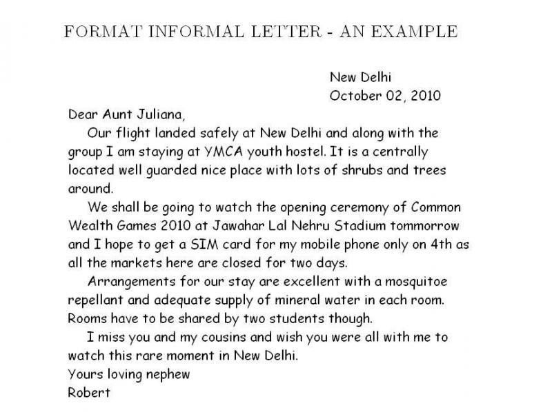 Sample Informal Letter Format. Informal Letter Format Sample ...