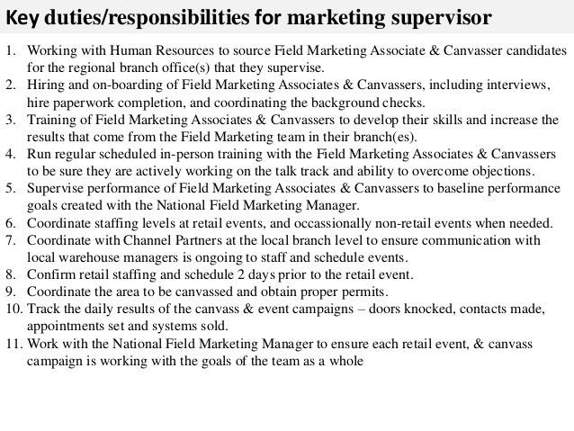 Marketing supervisor job description