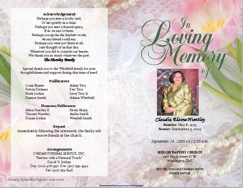 Funeral Brochure Template. Printable Funeral Program Template ...