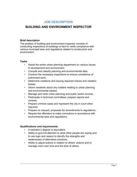 Building and Environment Inspector Job Description - Template ...