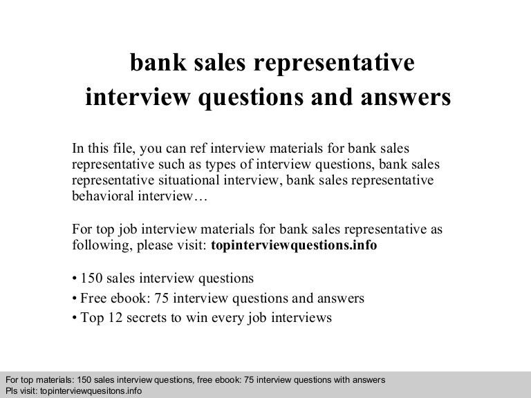 Bank sales representative interview questions and answers