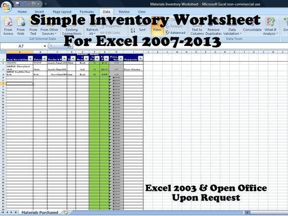 Simple Inventory Worksheet, Vendor Price Comparison and Supplies ...