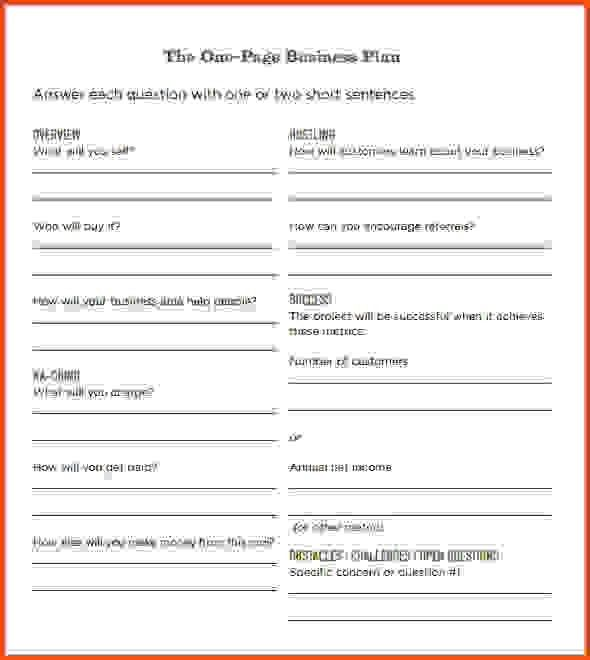 One Page Business Plan Template. Simple Business Plan Simple One ...