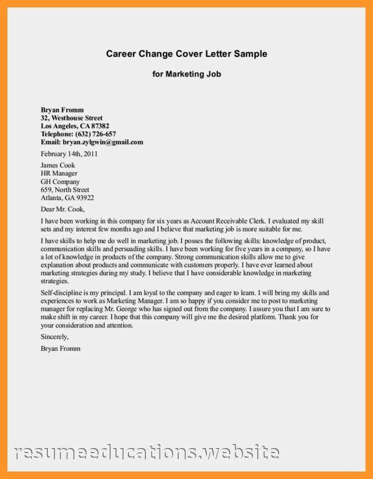 career change cover letter sample   sop example