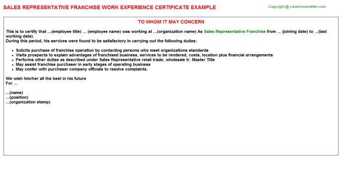 Sales Representative Franchise Work Experience Certificate