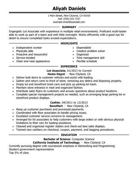 Best Part Time Lot Associates Resume Example | LiveCareer