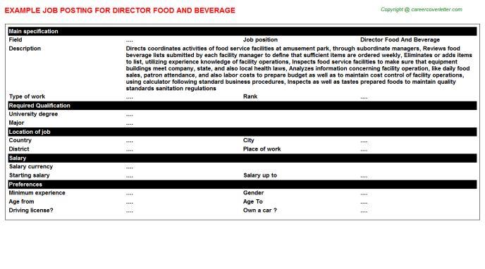 Food And Beverage Director Job Description - Recipes Food