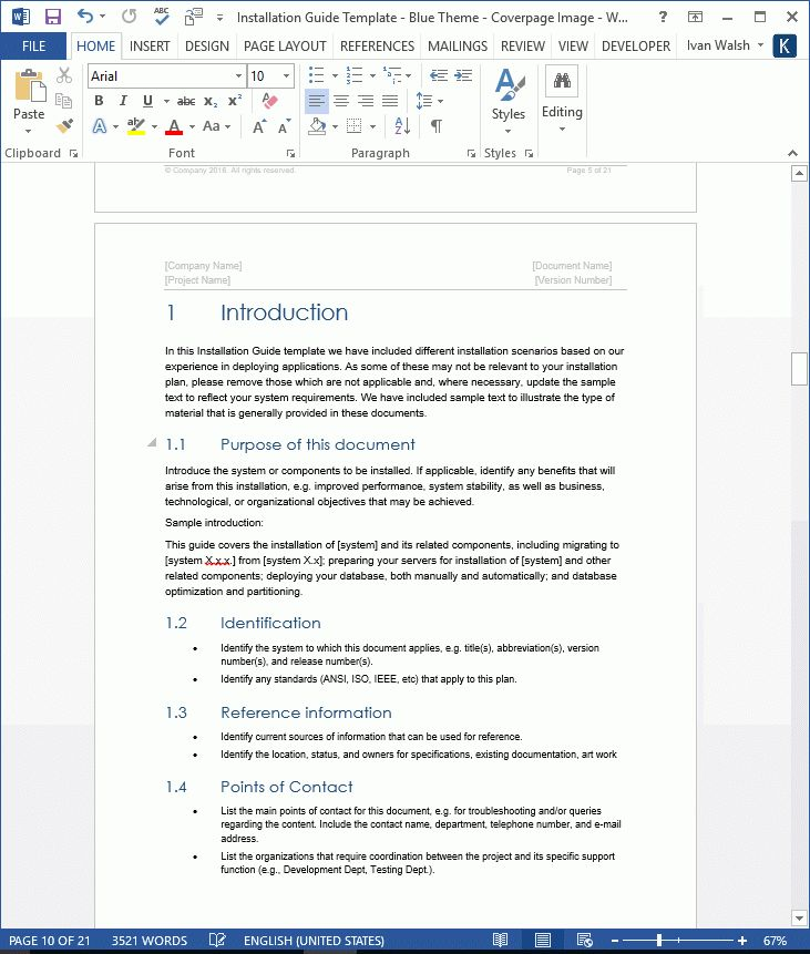 Installation Guide Template - MS Word - Instant Download