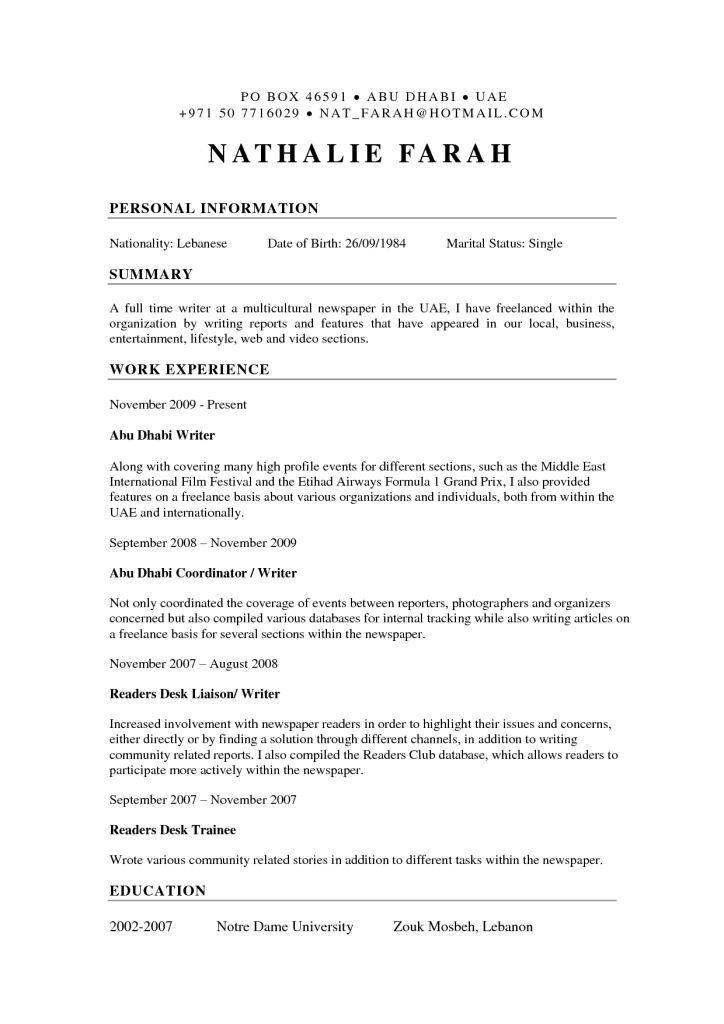 Freelance Resume Format   Resume Format